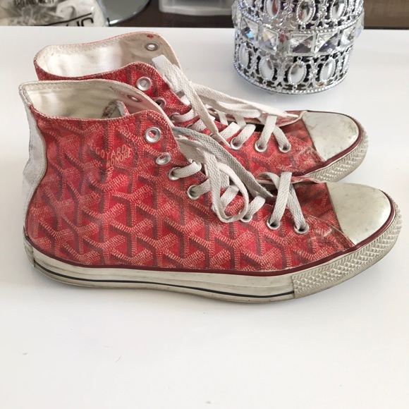 Converse Other - Converse custom made red high tops sz 9 goyard